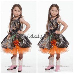 cheap child princess dresses NZ - Princess Camo Wedding Dresses Orange A Line Knee Length Girls Pageant Dress Cute Frist Holy Communion Child Brithday Party Gowns 2020 Cheap