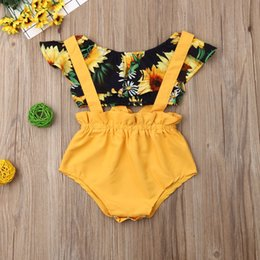 newborn baby girl princess clothing NZ - Classics DesiInfant Baby Girls Princess Clothes Summer Newborn Baby Girl Sunflower T-shirt Tops+Suspenders Shorts 2Pcs Outfits Clothes 3-18M