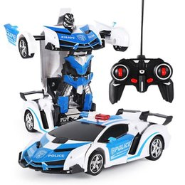 spin toys UK - Rc Transformable Spinning Race Car Robot Switch Toy With Flashing Light 5 Colors Children Kids Electric Car Toy Gift La269