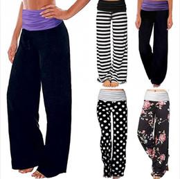 Wholesale print wide pants elastic waist for sale – dress Sport Trousers Female Wide Leg Pants Stripe Splice Mid Waist Milk Silk Dot Print Trousers Loose Yoga Sports Causal Pants Seashipping LJJP376