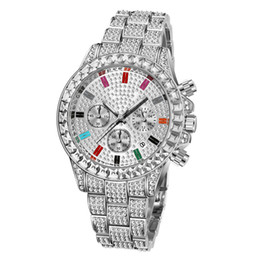 colorful diamonds watches Australia - New ins Fashion luxury designer colorful diamond calendar date quartz battery rose gold watches for men women