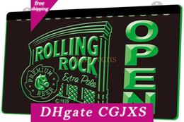 Wholesale rock roll signs online – design Ls0438 Rolling Rock Open Bar Rgb Multiple Color Remote Control d Engraving Led Neon Light Sign Shop Bar Pub Club