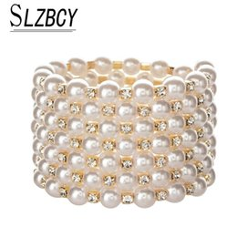 pearl bead elastic Australia - SLZBCY Adjustable Women Wide Multilayer Beads Chain Bracelets Crystal Bangles Luxury Elastic Pearl Wristband Jewelry