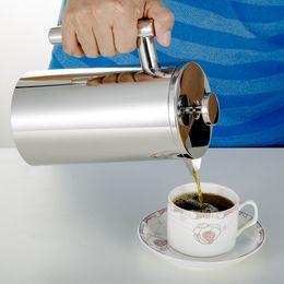 Vente en gros 350/800 / 1000ML Pots de café presse française Cafetière Double Walled en acier inoxydable Cafetiere thé Pot avec filtre Filtre GGA3697-8