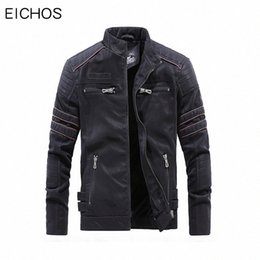 mens vintage leather motorcycle jackets NZ - EICHOS High Quality Winter Mens Leathers Jackets Vintage Washed Motorcycle Leather Jacket Male Zipper Pockets PU Leather Coats 9Dzd#