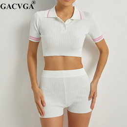 pants two piece bodycon set Canada - GACVGA Knitted Summer Short Sleeve Crop Top and Short Pant Two Piece Set High Stretch Sexy Bodycon Street Wear Women 2 Piece Set T200821