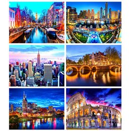 Wholesale ink city online – design DIY Diamond Painting D Landscape Full Square Embroidery Night City Mosaic Home Decoration Gift