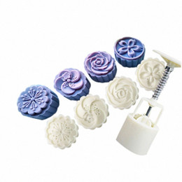 flower stamp mould NZ - 4 Style Stamps 50g Round Flower Moon Cake Mold Mould White Set Mooncake Decor Tools Kitchen Baking Scraper 1pc Y5kH#