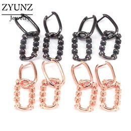 pave mixed color earrings Australia - 4 Pairs, Women Charm CZ Micro Pave Dangle Earrings Rectangle Hoop Earrings in Mix color
