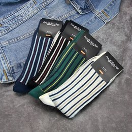 cotton striped stockings UK - sUywe Korean GGORANGNAE men's personalized color striped business mid-calf socks autumn and winter Warm stockings stockings warm cotton sock