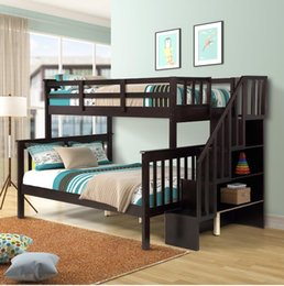 Fast Shpping Stairway Twin-Over-Full Bunk Bed with Storage and Guard Rail for Bedroom Dorm for Kids Adults Espresso color LP000019AAP on Sale