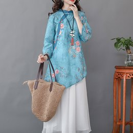 Wholesale l size shirt china for sale – custom GMbbM Autumn new large size printed Republic of China style stand collar mid length linen irregular swing shirt shirt F9938
