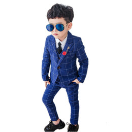 Wholesale formal vests for boys resale online - Formal Boys Suits Kids Plaid Blazer Vest Trousers Outfits for Wedding Party Birthday Dress Costume Spring Children Clothing Set