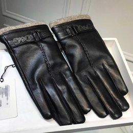 winter man genuine leather gloves NZ - Fashion Sheepskin Gloves Stylish Men Leather Gloves Metal Letter Decorate Winter Gloves Casual Soft Genuine Leather Glove for Gifts