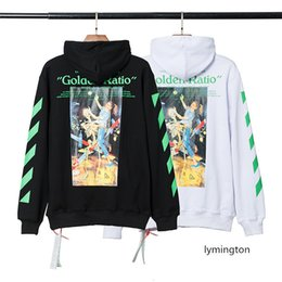 cotton lining material NZ - 20S autumn winter OW cutting line material dancing with ghost printing men's women's pullover hoodie sweater