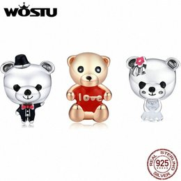 teddy bear silver chain UK - WOSTU Sterling Silver 925 Teddy bear Safety Chain Pendant Fit Charm Bracelet DIY Women Silver Original Bead Jewelry MAKE 7X3m#