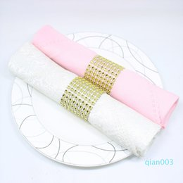 diamond napkin rings for weddings UK - Wholesale Napkin Rings Hotel Chair Sash Diamond Mesh Wrap Napkin Buckle For Wedding Reception Party Table Decorations Supplies DBC DH0593