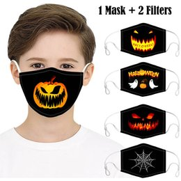Discount designing masks for kids Kids Halloween Party Masks with 2 Filters Fashion 3D Design Printed Pumpkin Spider Web Cotton Face Mask Anti Dust Washab