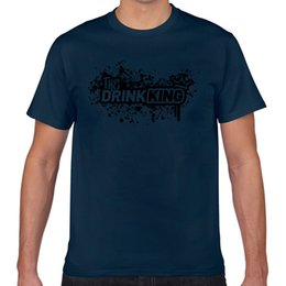 Wholesale geek king for sale – custom Tops T Shirt Men Drink King With Crown Drinking Shirt Beer Alcohol Summer Harajuku Geek Cotton Male Tshirt Xxx