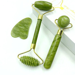 3Pcs Set Natural Jade Massage Roller Guasha Board SPA Scraper Stone Facial Anti-wrinkle Treatment Body Face Massager Health Care Tools on Sale