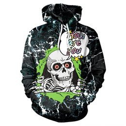 Wholesale 3d printed sweaters for men online – oversize 2020 Tide brand camouflage skull head D digital printing hooded sweater pullover Digital pullover for men