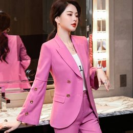 Wholesale elegant pink jacket for women resale online – Pink small suit for Women new autumn Korean style slim fit elegant fashion jacket jacket online red casual suit