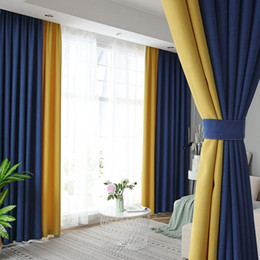 Wholesale 2pcs Modern Luxury High End Curtains Bedroom Living Room Balcony Window Screen Curtains Villa Decoration Cotton Linen Stitching Curtain