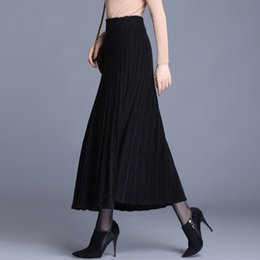 Wholesale mink skirts resale online - rBuLV Mink velvet autumn and winter knitted A line dress mid length wool pleated thickened wool winter A LINE dress long long skirt skirt