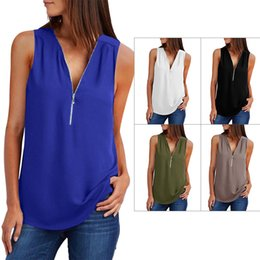 slim v neck t shirt Australia - womens designer Shiying solid color base T-shirt female V-neck sleeveless pullover slim top 251960