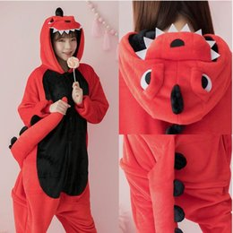 Flannel Dinosaur Kigurumi Pajama Women Male Winter Homewear Girl Onesie Flannel Animal Cosplay Costume Party Jumpsuit Adult Warm CX200817