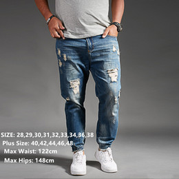 mens long cargo pants NZ - Ripped Jeans For Men Blue Black Denim Mens Jean Homme Harem Hip Hop Plus Size Trousers 44 46 48 Mens Uomo Fashions Jogger Pants CX200825