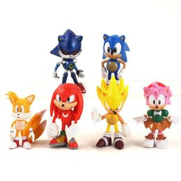 shadow figures NZ - 6pcs  Set Sonic Anime Cartoon Sonic Figures Toy Pvc Toy Action Figures Sonic Shadow Tails Children S Birthday Toy