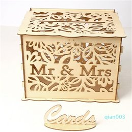 locking storage boxes Australia - Carving Mr&Ms Case Wooden Draw Cards Box With Lock Storage Jewelery Gift Holder Rectangle Organizer Wedding Parties 19 5jma C2