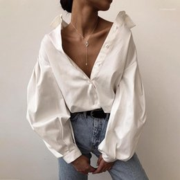 black lapel long sleeve blouse Australia - Casual Solid Black Womens Blouses Shirts Womens Designer White Shirts Fashion Lantern Sleeve Lapel Neck Shirts