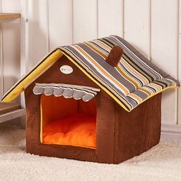 cat beds medium NZ - 20New Fashion Striped Removable Cover Mat Dog House Collapsible Dog Beds For Small Medium Dogs Pet Products House anti-skid Pet Beds for Cat