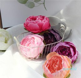 small wedding flower bouquets Canada - New Artificial Rose Flower Heads Silk Decorative Flower Party Decoration Wedding Wall Flower Bouquet White Artificial Roses Bouquet HH9-2604