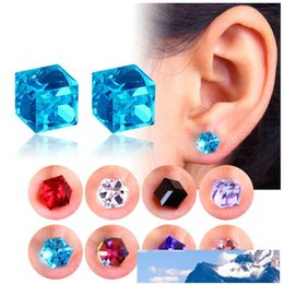 magnets for jewelry wholesale 2021 - Crystal Magnetic Earrings Water Cube Health Magnet Colorful Crystal non-pierced Earrings for Women Jewelry drop shipping