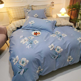 bedding sets Canada - 100% Cutton Plant and Flower Series Super Breathe Skin Friendly Queen King Size Luxury Comforters Bedding Sets AMS29027