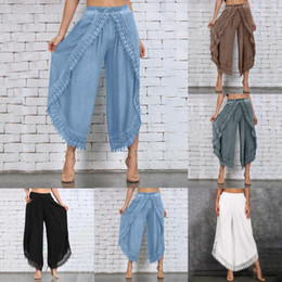 hippie wear 2021 - Lady Wear Mori Girl Elastic Waist Lace Crochet Wide Leg Pants Calf-length Cotton Trousers Hippie Boho Women Capris Pants 2020