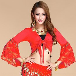 indian clothing sizes NZ - 7BKSw Belly women clothing dress costume top Indian dance costume top square dance clothing high-elastic large size shawl