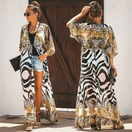 Wholesale kimonos for women for sale - Group buy 2020 New Plus Size Chiffon Cover Up Beach Floral Dress Beach Kimono Coverups for Women Swimsuit Cover Ups Women Bikini Up