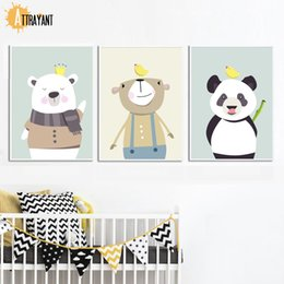painting crown NZ - Cartoon Bear Panda Bird Crown Wall Art Canvas Painting Nordic Posters And Prints Animal Wall Pictures Kids Room Nursery Decor