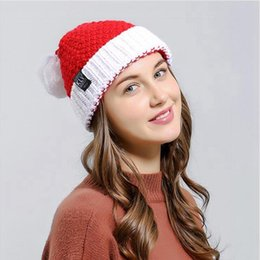 Knitted Christmas Plush Hat Autumn Winter Santa Woolly Caps Red Halloween Creative Gift Ornaments Decoration Xmas Cap DDA416