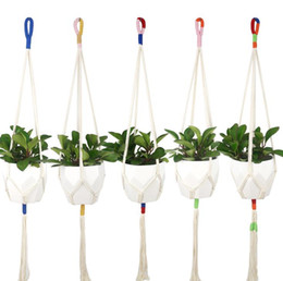 cotton plant flower NZ - Plant Hanger Cotton Rope Hanging Plant Holder Flower Pot Holder Indoor Outdoor Balcony Decoration Wall Art SN3311