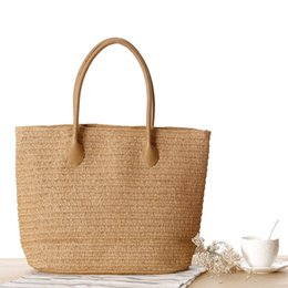 Discount big handbags for travel Large Beach Bag for Summer Big Straw Bags Handmade Woven Tote Women Travel Handbags Luxury Shopping Hand Bags
