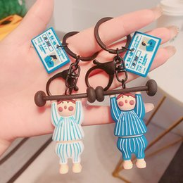 weightlifting chains NZ - Creative cartoon weightlifting couple key chain Pendant Doll Gift cute glue drop doll key chain bag pendant gift