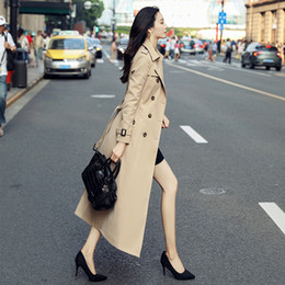 Mid Length Fashion Lapel Collar Women Trench Coat Double breasted Full Sleeve Windbreaker Office Lady Autumn Women's Coat on Sale