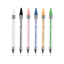 Tamax 1 stück Dual-Ended Nagel Doting Stift Kristallperlen Griff Strass Bolster Picker Wachs Bleistift Maniküre Glitter Pulver Nail art Werkzeuge im Angebot