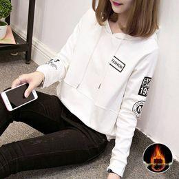 Wholesale korean sleeveless hoodie resale online - 2020 autumn and winter Coat sweaterHoodie sweaternew sweater women s long sleeve korean style loose velvet thickened hoodie ins super hot co
