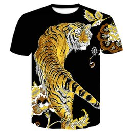 kimono tshirt UK - Brand 2019 New Wolf tiger T Shirt Men Anime Tshirt China 3d Print T-shirt Hip Hop Tee Cool Mens Clothing New Summer Big Size Top